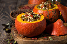 Sweet Rice With Dried Fruit In A Pumpkin