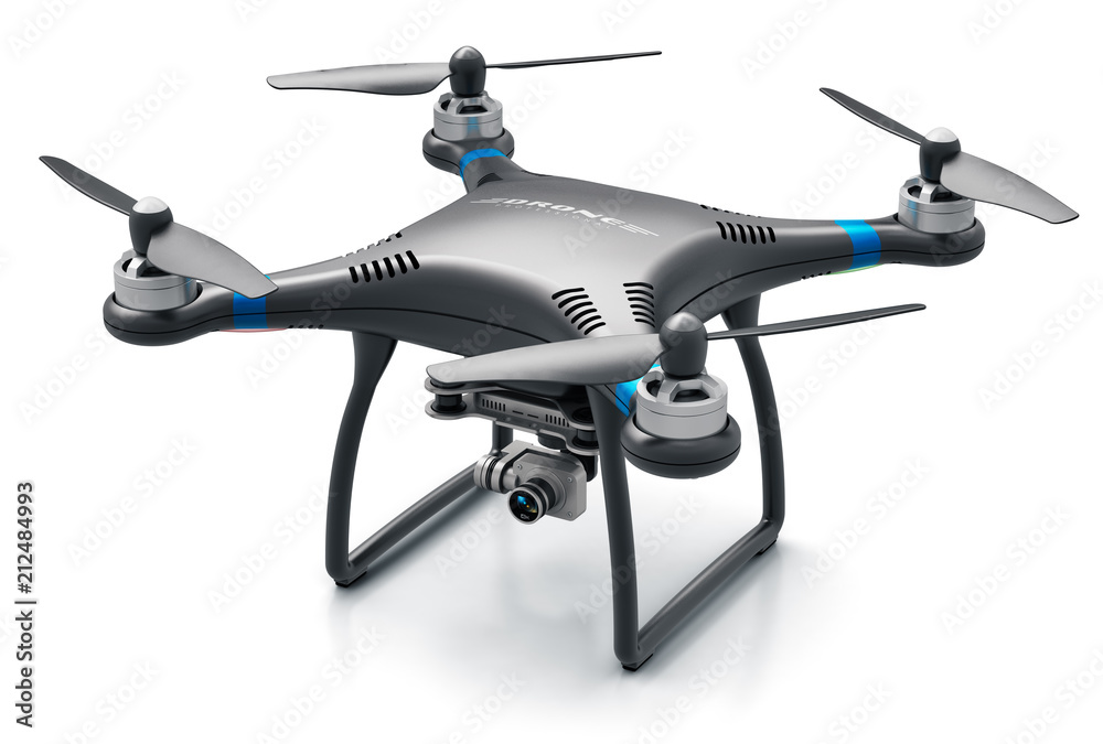 Fototapety, obrazy: Quadcopter drone with 4K video and photo camera