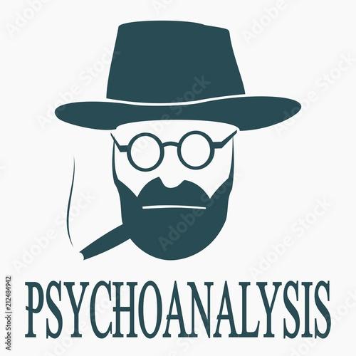 Billede på lærred inscription psychoanalysis and the face of a psychoanalyst