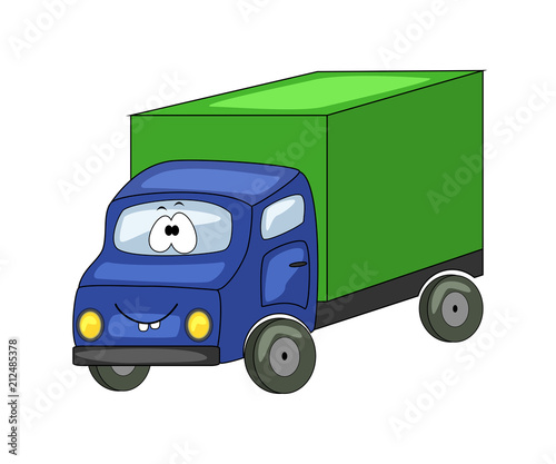 Foto op Canvas Cars Cute cartoon green truck. Vector illustration isolated on white