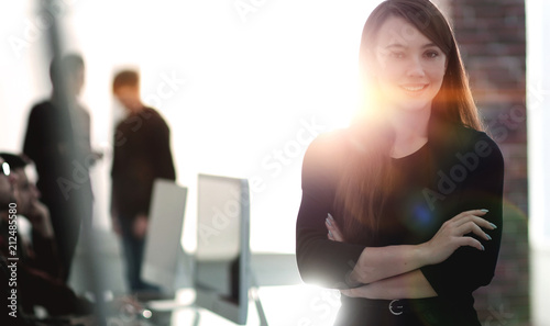 Fototapety, obrazy: business woman on blurred background office