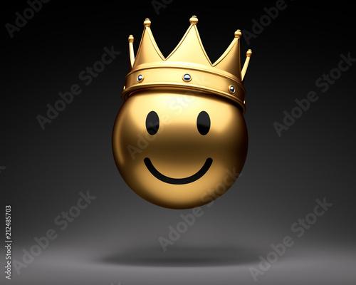 Goldener Smiley mit Krone Canvas-taulu