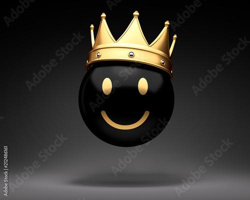 Schwarzer Smiley mit Krone Canvas-taulu