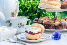 Afternoon Tea With Cakes And T...