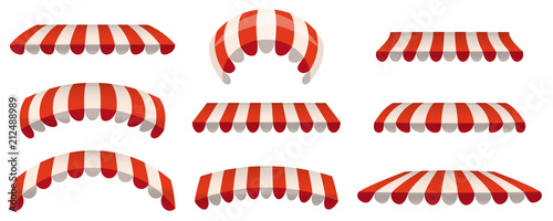 Fotografía  A set of striped red white awnings, canopies for the store