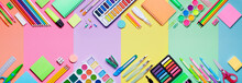 School Supplies With Colorful Paper Background - Education Banner