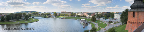 Fototapeta City Landscape, banner, panorama - view from walls of the Wawel Castle on the Wisla River in the city of Krakow on sunny summer day, Poland obraz