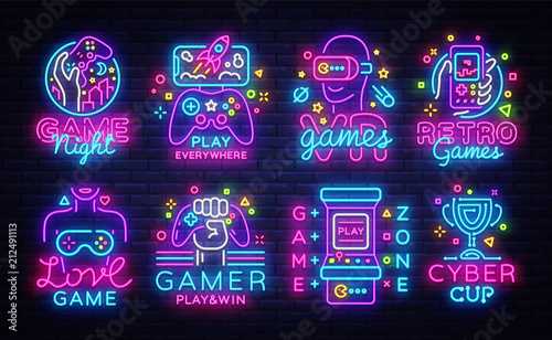 Big Collection Video Games Logos Vector Conceptual Neon Signs Fototapet