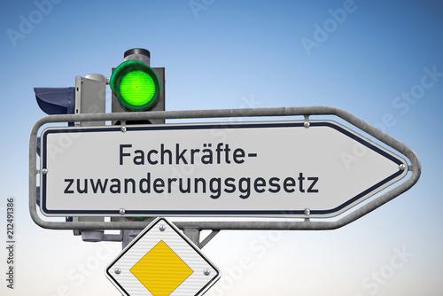 Fotografie, Obraz  Signal auf Grün für Fachkräfte- zuwanderungsgesetz