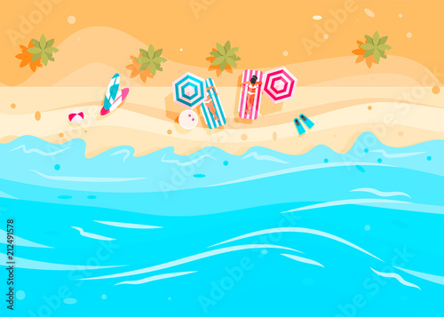 Photo Stands Turquoise People swim and sunbathe.