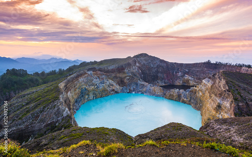 Wall Murals Cappuccino Gorgeous Beautiful Morning View of Mount Kelimutu Lake, Ende, Flores Island, Indonesia