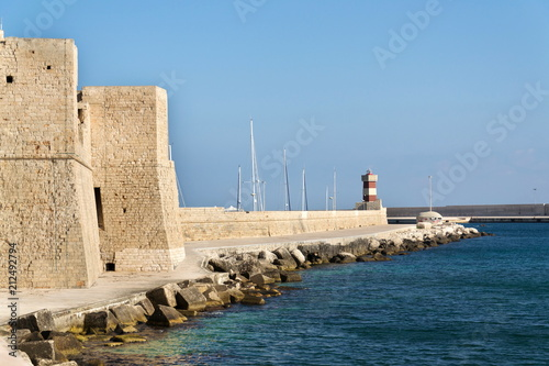 Tuinposter Poort Lighthouse in Monopoli port in front of Castle of Carlo V, Adriatic Sea, Apulia, Bari province, Italy