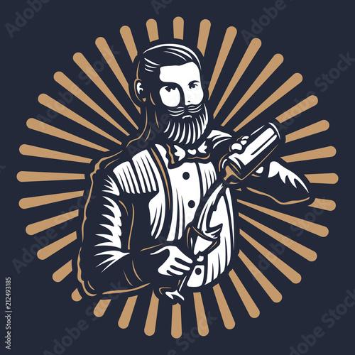 Bearded barmen, barkeeper or bartender in work silhouette with shaker logo design on black background - Hand drawn man with beard and mustache vector illustration Wallpaper Mural