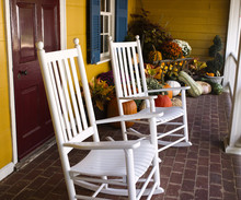 Autumn Decoration In Virginia With Pumpkins And Rocking Chairs-Square Size
