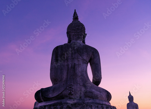 Tuinposter Boeddha Big buddha stature with color of sky dark filter style