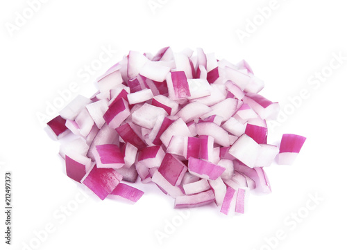 Foto Fresh chopped red onion on white background