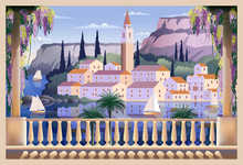 Mediterranean Romantic Landscape.