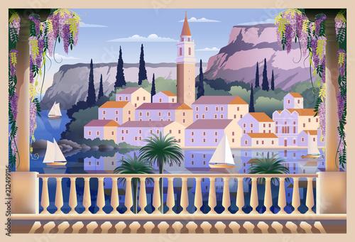 Printed kitchen splashbacks Purple Mediterranean romantic landscape.