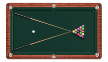 Billiard Table With Balls And ...