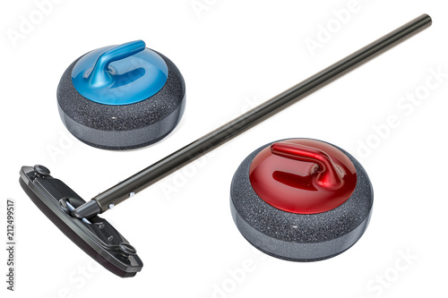 Curling broom and curling stones, 3D rendering Fotobehang