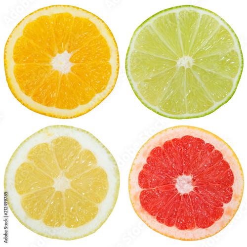 Fotografie, Obraz  Zitrusfrüchte Südfrüchte Sammlung Orange Zitrone Früchte Quadrat geschnitten Häl