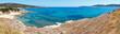 Summer sea coast panorama (Halkidiki, Greece).