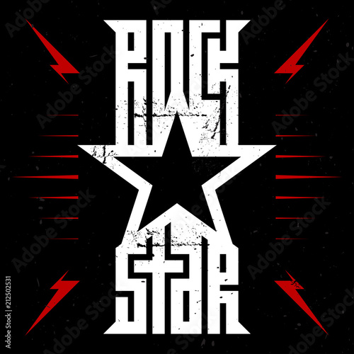 Rock star - music poster with red lightnings and stars Canvas-taulu