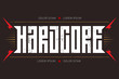Hardcore - music poster or t-shirt apparels cool print. Hard core - t-shirt design with red lightnings.