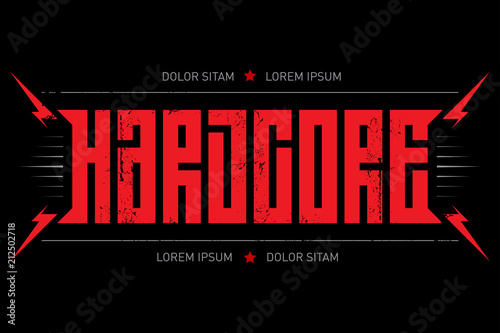 Hard Core - music poster. Hardcore - t-shirt design with red lightnings. T-shirt apparels cool print.