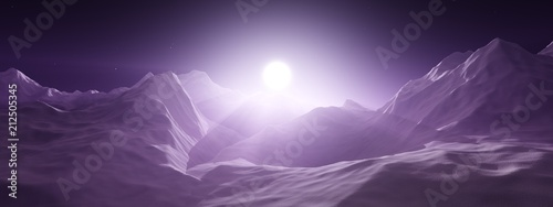 Foto op Plexiglas Aubergine Sunrise in the mountains. Mountain sunset. The mountains are in a fog. 3D rendering