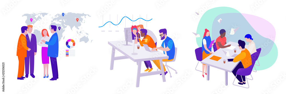 Fototapeta set of vector business illustrations: teamwork, meeting of managers and directors on the background of the map, workflow in the office at the computer