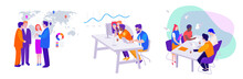 Set Of Vector Business Illustrations: Teamwork, Meeting Of Managers And Directors On The Background Of The Map, Workflow In The Office At The Computer