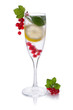 refreshing glass of water with lemon Red currant isolated on white in a glass for champagne