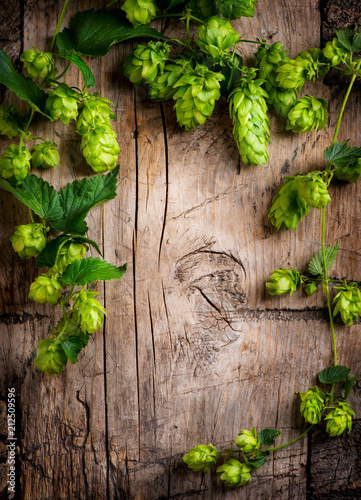 Foto op Aluminium Bier / Cider Hop twig over old wooden cracked table background. Beer production ingredient. Brewery concept. Vertical image
