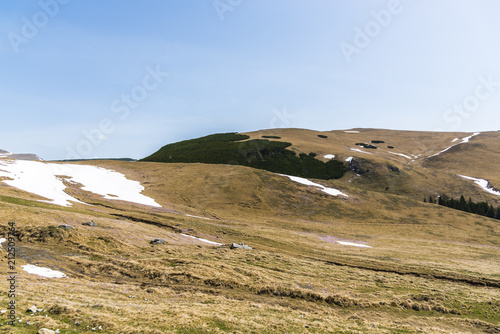 Foto op Plexiglas Blauwe hemel landscape at cota 2000 in the springtime, Romania, Bucegi mountains