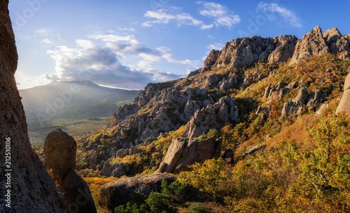In de dag Zwart Mountain range Demerdzhi, the Republic of Crimea.