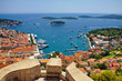 Wonderful panoramic view of Hvar city and the harbor from the Spanish fortress in Coratia
