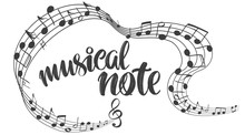 Musical Notes Icon, Love Music, Calligraphy Text Hand Drawn Vector Illustration Sketch
