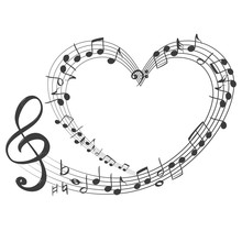 Musical Notes In The Form Of A Heart Icon, Love Music, Hand Drawn Vector Illustration Sketch