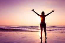 Happy Joyful Woman Spreading Hands On The Beach At Sunset, Cheerful Emotion And Mindfulness, Balance, Mindful Thinking