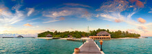 Beautiful Sunset Over Ocean Island Maldives Long Panorama