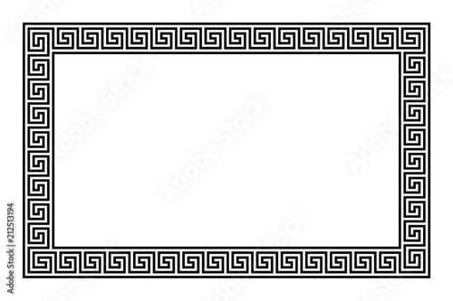 Photo  Rectangle frame with seamless meander pattern