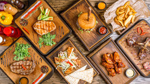 Assorted Meat Dishes. Burger, ...