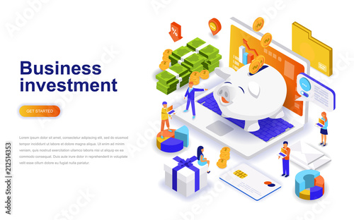 Fotomural Business investment modern flat design isometric concept