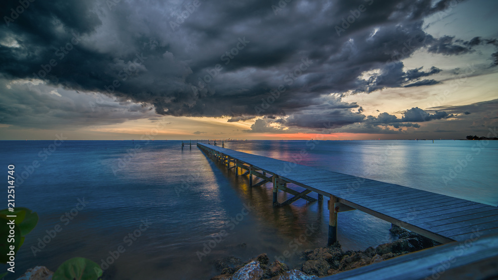 Fototapeta Dark ominous clouds over Tampa  Bay, Florida