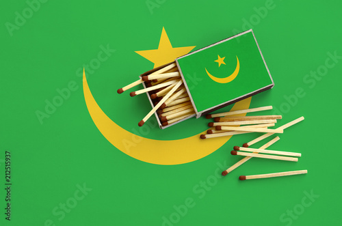 Mauritania flag  is shown on an open matchbox, from which several matches fall a Canvas Print