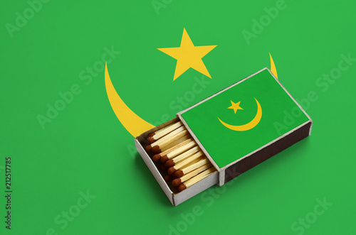 Mauritania flag  is shown in an open matchbox, which is filled with matches and Wallpaper Mural