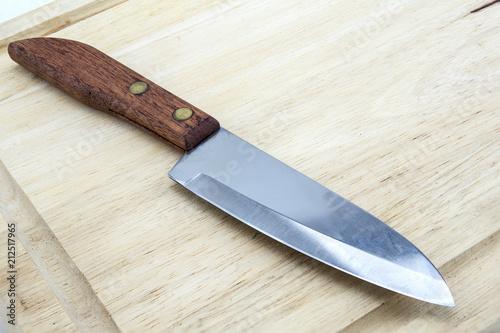 Clean Cutting Board and Knife Fototapeta