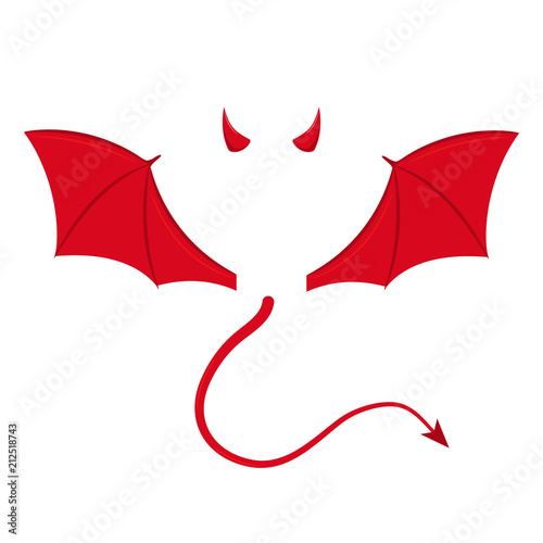 Fotografiet Devil wings, horns and tail. Vector. Isolated.