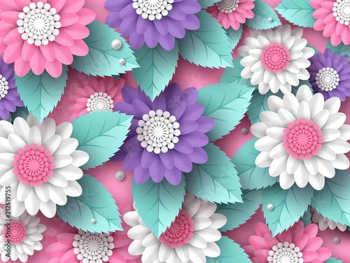 Fototapeta kwiaty 3D koorowa kompozycja